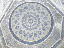 Uzbek ornament. The ornamentation of the dome of the mausoleum of Shirinbek Eye Uzbekistan Stock Photo