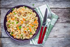 Uzbek pilaf with lamb and carrots Royalty Free Stock Images