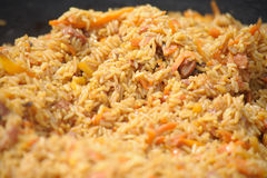 Uzbek pilau. Dish originating from the East stock photos
