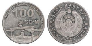 100 Uzbek som. Coin on white background Royalty Free Stock Image
