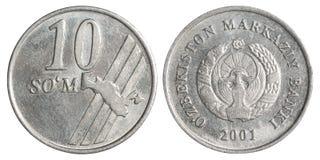 Uzbek som coin. 10 Uzbek som coin on white background Stock Image