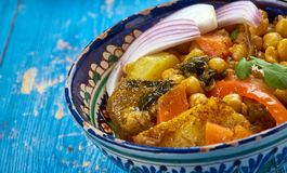 Uzbek soup with chickpeas mohora. Nahot-shurpa.Central Asian cuisine stock photography