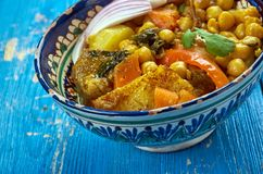 Uzbek soup with chickpeas mohora. Nahot-shurpa.Central Asian cuisine royalty free stock images