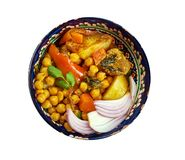 Uzbek soup with chickpeas mohora. Nahot-shurpa.Central Asian cuisine stock photo