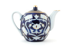 Uzbek Tea Pot. Isolated photo of blue Central Asian (Uzbek) tea pot with traditional cotton style pattern Stock Photos