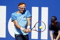 Uzbek tennis player Denis Istomin. In action during a match of Barcelona tennis tournament Conde de Godo on April 19, 2016 in Barcelona Stock Images