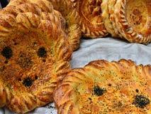 Uzbek traditional meal bread stock images
