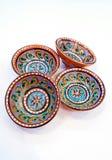 Uzbeka garncarstwo - puchar robić ceramics Gijduvan który kłama blisko Bukhara, uwydatniają ciepłych Złotych i brown kolory Zdjęcie Royalty Free