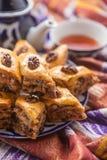 Uzbeka krajowy jedzenie na tradycyjnych tkanin adras Zdjęcie Stock