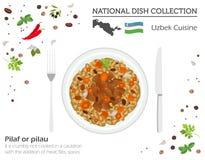 Uzbekisk kokkonst Asiatisk nationell maträttsamling Pilaff som isoleras på vitt, infograpic stock illustrationer