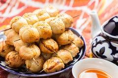 Uzbekisk nationell matsamsa på traditionella tygadras royaltyfria bilder