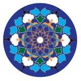 Uzbekisk traditionell prydnad i blåa, gröna och gula färger för wight, stock illustrationer