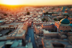 Uzbekistan. Ancient town of Itchan Kala in the middle of city of Khiva, Uzbekistan. Tilt shift effect used Stock Photography