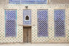 Uzbekistan. Architecture details and finely wooden carved door at Tash Khovli Palace, the summer residence of Khivan Khans, at Itchan Kala, Khiva, Uzbekistan Stock Photography