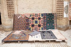 Uzbekistan. Carpets at the workshop in Itchan Kala, Khiva, Uzbekistan. Itchan Kala is the walled inner town of the city of Khiva. Since 1990 it has been Royalty Free Stock Image