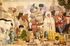 Uzbekistan. Details of the old painting that show the lifestyle in the ancient Khiva, Uzbekistan. Khiva was the capital of the ancient Khwarezmia and the Khanate Royalty Free Stock Image