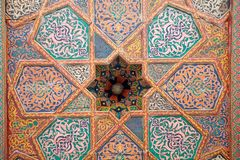Uzbekistan. Details of the room ceiling at Tash Khovli Palace, the summer residence of Khivan Khans, at Itchan Kala, Khiva, Uzbekistan. Itchan Kala is the walled Stock Images