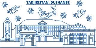 Uzbekistan, Dushanbe winter city skyline. Merry Christmas,  Stock Image