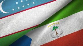 Uzbekistan and Equatorial Guinea two flags textile cloth, fabric texture. Uzbekistan and Equatorial Guinea two folded flags together stock illustration