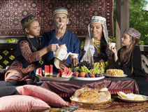 Uzbekistan family have breakfast Royalty Free Stock Photo