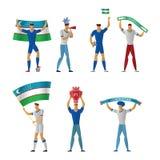 Uzbekistan fan piłki nożnej Rozochocona piłka nożna ilustracja wektor