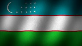 Uzbekistan flag. Animated, waving flag composed by  horizontal lines in light blue, white and green with two thin red ones, a crescent moon in the top left side stock video footage
