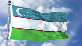 Uzbekistan Flag in a Blue Sky. Use this clip loud and proud to express loyalty and love to our country. It is a seamless loop with luma channel royalty free stock images