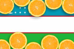 Uzbekistan flag in citrus fruit slices horizontal frame. Uzbekistan flag in horizontal frame of orange citrus fruit slices. Concept of growing as well as import stock photos