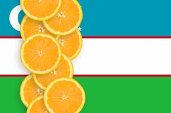 Uzbekistan flag and citrus fruit slices vertical row. Uzbekistan flag and vertical row of orange citrus fruit slices. Concept of growing as well as import and royalty free stock photo