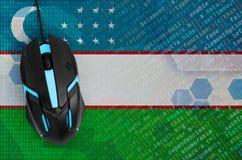 Uzbekistan flag and computer mouse. Digital threat, illegal actions on the Internet. Uzbekistan flag and modern backlit computer mouse. The concept of digital royalty free stock image