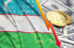 Uzbekistan flag and cryptocurrency falling trend with two bitcoins on dollar bills. Concept of depreciation Bitcoin in price against the dollar royalty free illustration