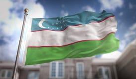 Uzbekistan Flag 3D Rendering on Blue Sky Building Background Royalty Free Stock Photography