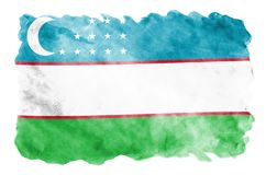 Uzbekistan flag is depicted in liquid watercolor style isolated on white background. Careless paint shading with image of national flag. Independence Day stock photos