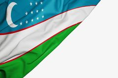 Uzbekistan flag of fabric with copyspace for your text on white background. Asia asian banner best blue capital colorful competition country ensign free freedom royalty free illustration
