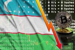 Uzbekistan flag and falling red arrow on bitcoin mining screen and two physical golden bitcoins. Concept of low conversion in cryptocurrency mining royalty free illustration