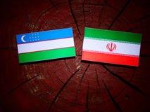Uzbekistan flag with Iranian flag on a tree stump isolated. Uzbekistan flag with Iranian flag on a tree stump Stock Photo