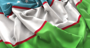 Uzbekistan Flag Ruffled Beautifully Waving Macro Close-Up Shot. Studio Royalty Free Stock Image