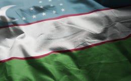 Uzbekistan Flag Rumpled Close Up.  stock image