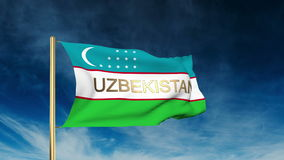 Uzbekistan flag slider style with title. Waving in. The wind with cloud back animation stock video