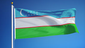 Uzbekistan flag in slow motion seamlessly looped with alpha stock video footage
