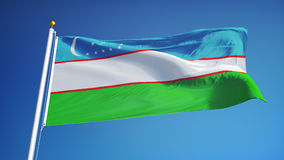 Uzbekistan flag in slow motion seamlessly looped with alpha stock video