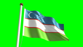 Uzbekistan flag. Video (seamless & green screen stock footage