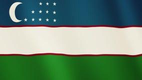 Uzbekistan flag waving animation. Full Screen. Symbol of the country. 4K stock footage
