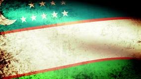 Uzbekistan Flag Waving, grunge look. Uzbekistan Flag Waving grunge look, video footage stock footage