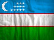 Uzbekistan flaga tkaniny tekstury tkanina Zdjęcie Stock