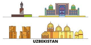 Uzbekistan flat landmarks vector illustration. Uzbekistan line city with famous travel sights, skyline, design. Uzbekistan flat landmarks vector illustration royalty free illustration