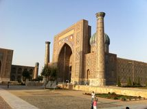 Uzbekistan. Grand forms of architecture, compelling and mesmerizing beauty of buildings, exquisite interior, original external representation Royalty Free Stock Photo