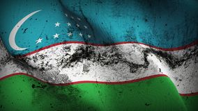 Uzbekistan grunge dirty flag waving on wind. Uzbekistani background fullscreen grease flag blowing on wind. Realistic filth fabric texture on windy day Stock Photo