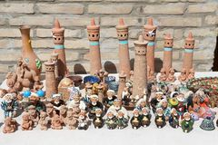 Uzbekistan. Handicrafts for sale along the street in the historic centre of Bukhara, Uzbekistan. Bukhara is a city museum with over 140 architectural monuments Royalty Free Stock Photography