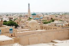 Uzbekistan. Itchan Kala view, Khiva, Uzbekistan. Itchan Kala is the walled inner town of the city of Khiva. Since 1990 it has been protected as a World Heritage stock photography